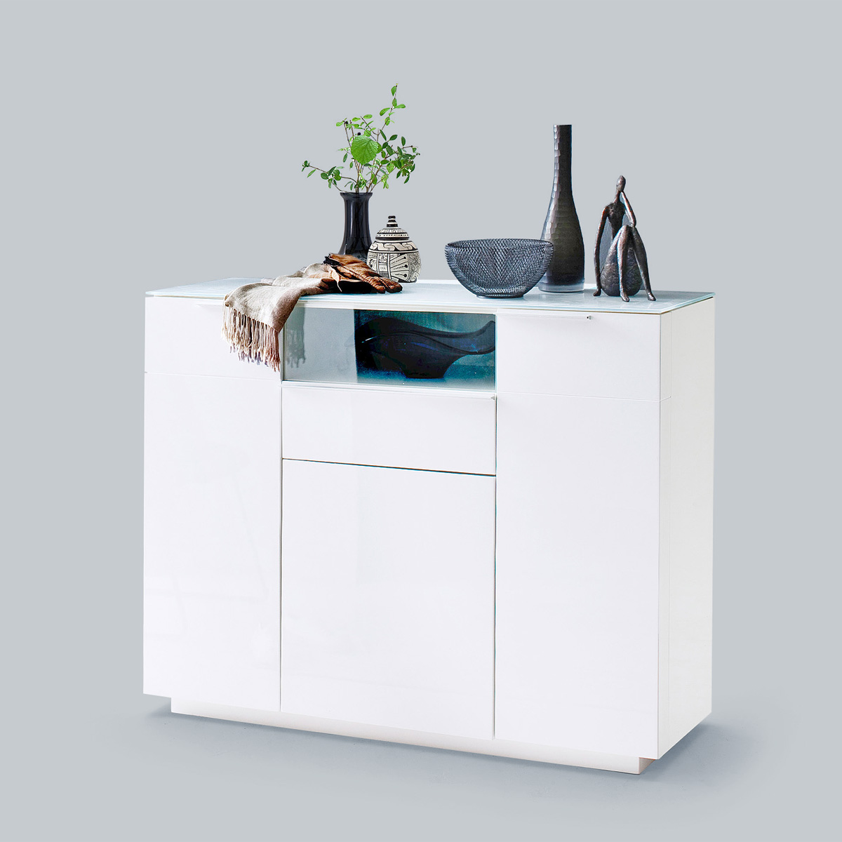 kommode canberra garderobe schuhschrank in wei hochglanz lack mit glas ebay. Black Bedroom Furniture Sets. Home Design Ideas