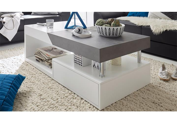 couchtisch hopes beistelltisch wohnzimmertisch in wei matt lack und beton eur 249 95. Black Bedroom Furniture Sets. Home Design Ideas