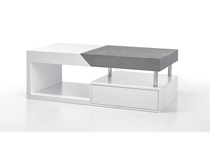 couchtisch hopes beistelltisch wohnzimmertisch in wei matt lack und beton ebay. Black Bedroom Furniture Sets. Home Design Ideas