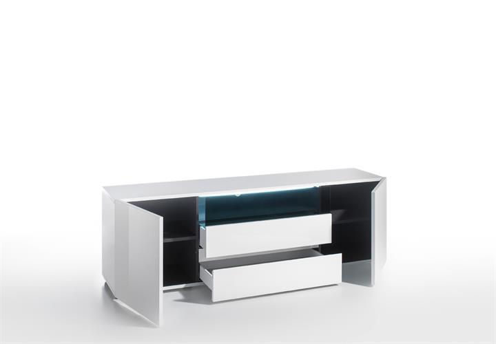 tv board vicenza lowboard unterschrank in wei hochglanz lackiert 185 cm ebay. Black Bedroom Furniture Sets. Home Design Ideas