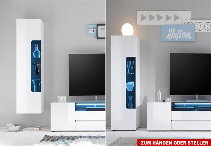 vitrine vicenza h ngevitrine standvitrine schrank wei hochglanz lackiert 51 cm ebay. Black Bedroom Furniture Sets. Home Design Ideas