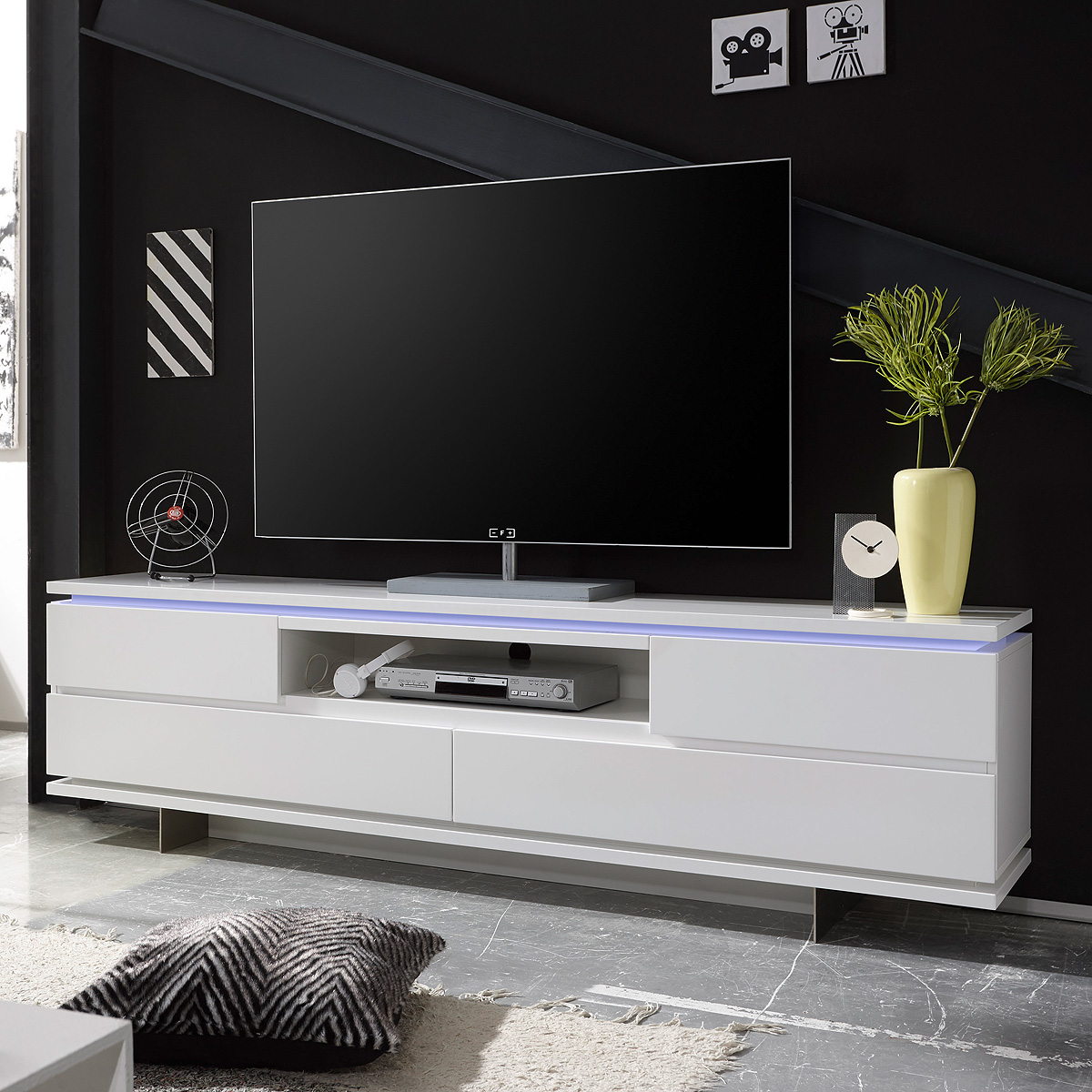 tv board balin lowboard unterschrank in wei matt lackiert mit led 200 cm ebay. Black Bedroom Furniture Sets. Home Design Ideas