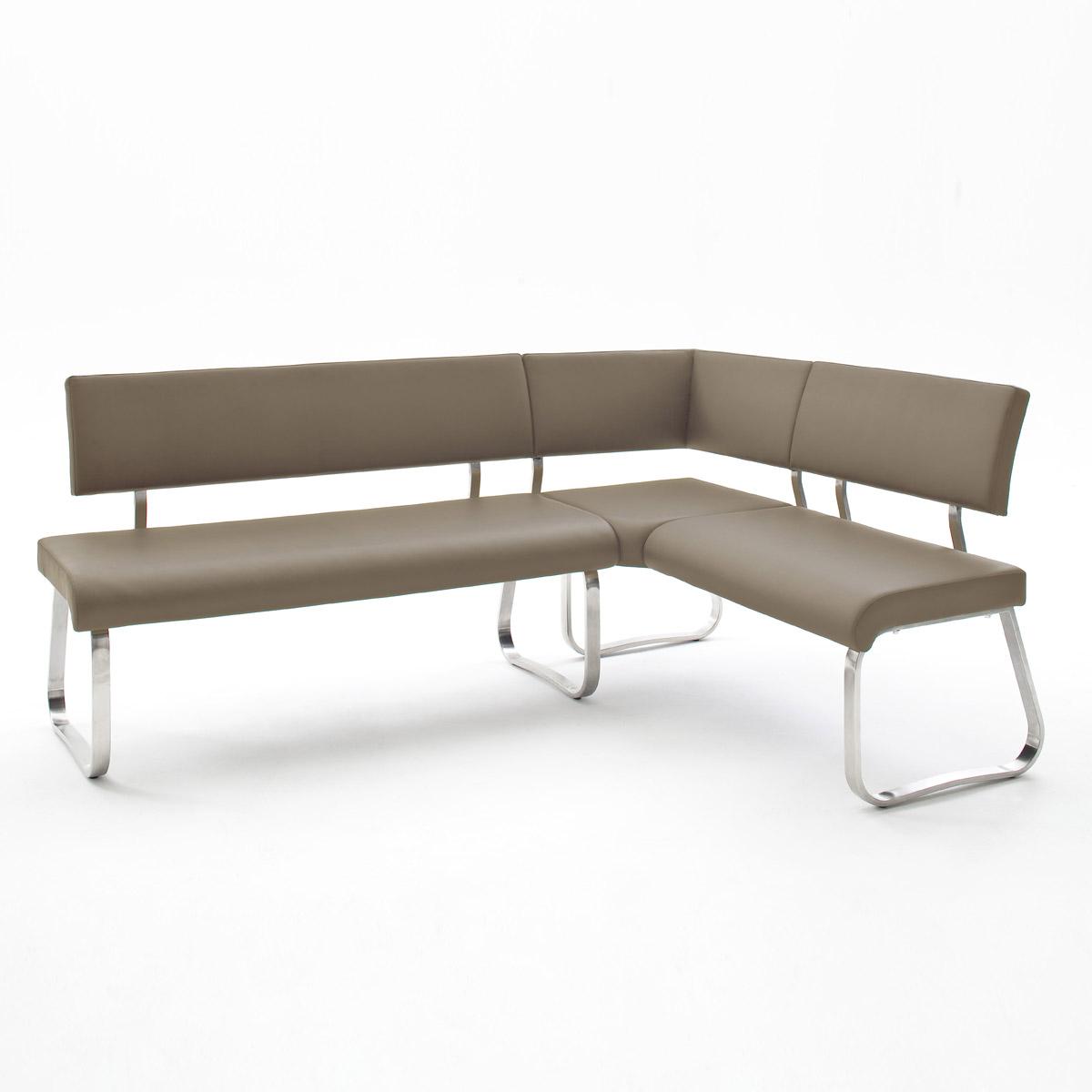eckbank arco sitzbank polsterbank esszimmer bank lederlook edelstahl ebay. Black Bedroom Furniture Sets. Home Design Ideas