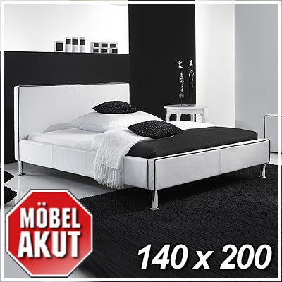 leder bett tango in wei chromf e 140 x 200 ebay. Black Bedroom Furniture Sets. Home Design Ideas