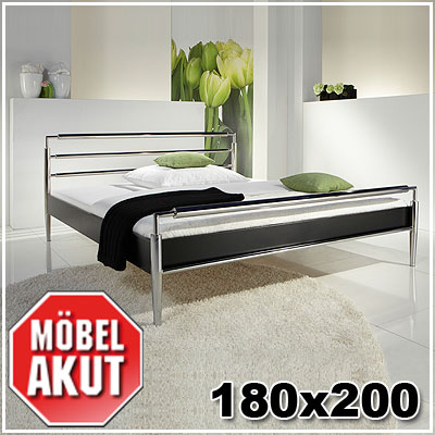 bett kapa doppelbett metallbett in schwarz chrom 180x200 ebay. Black Bedroom Furniture Sets. Home Design Ideas