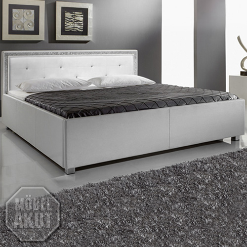 polsterbett myla bett in wei mit strass neu 180x200. Black Bedroom Furniture Sets. Home Design Ideas