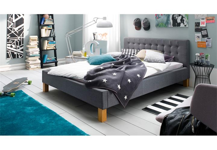 bett yesa jugendzimmerbett polsterbett doppelbett stoff in grau 140x200 cm eur 269 95. Black Bedroom Furniture Sets. Home Design Ideas