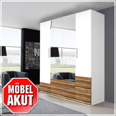 kleiderschrank pepa schrank in wei baltimore walnuss mit spiegel b 160 ebay. Black Bedroom Furniture Sets. Home Design Ideas