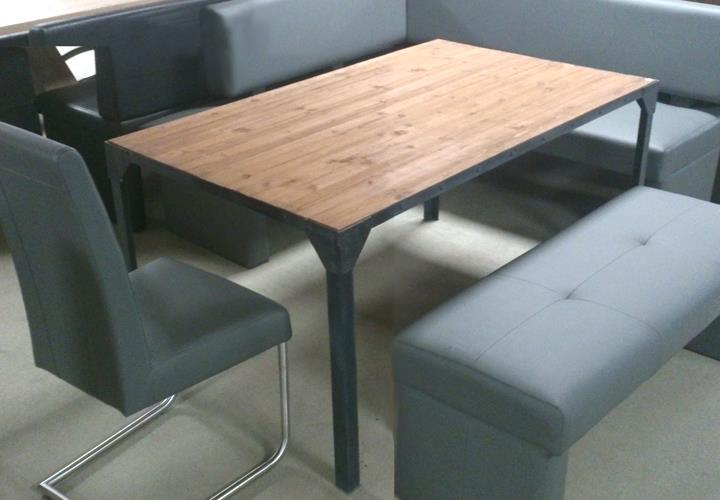 Esstisch Transformer ~ Esstisch Factory Tisch Platte Massivholz Gestell Eisen 180×90 cm  Esstische