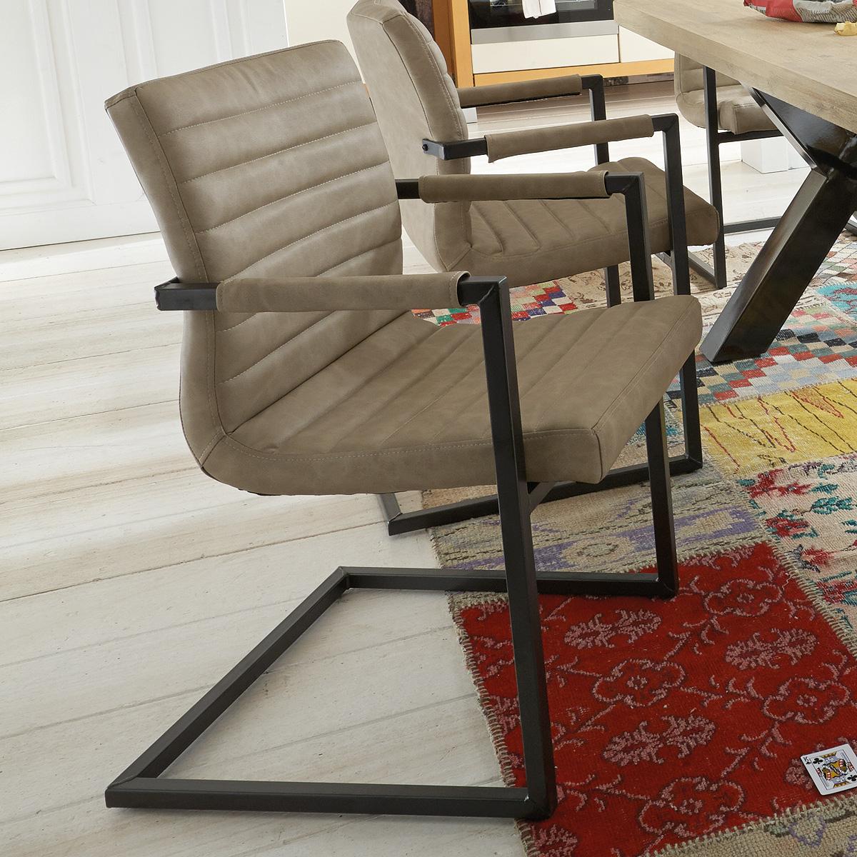 schwingstuhl parzival 6er set stuhl gestell eisen grau mit. Black Bedroom Furniture Sets. Home Design Ideas