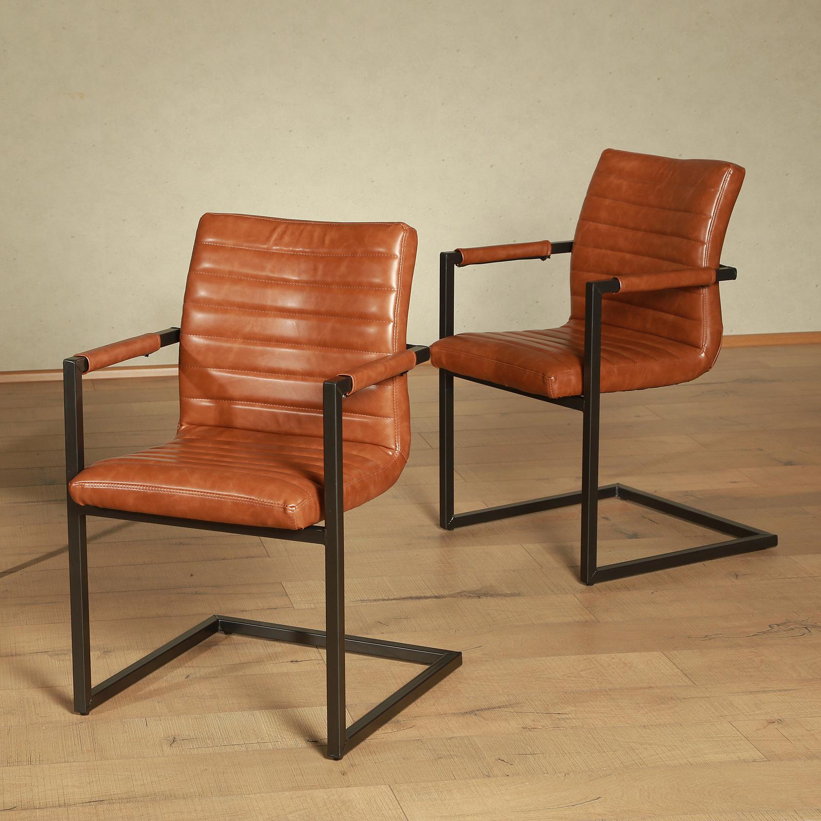 schwingstuhl parzival 2er set stuhl farbauswahl gestell eisen grau mit armlehne ebay. Black Bedroom Furniture Sets. Home Design Ideas