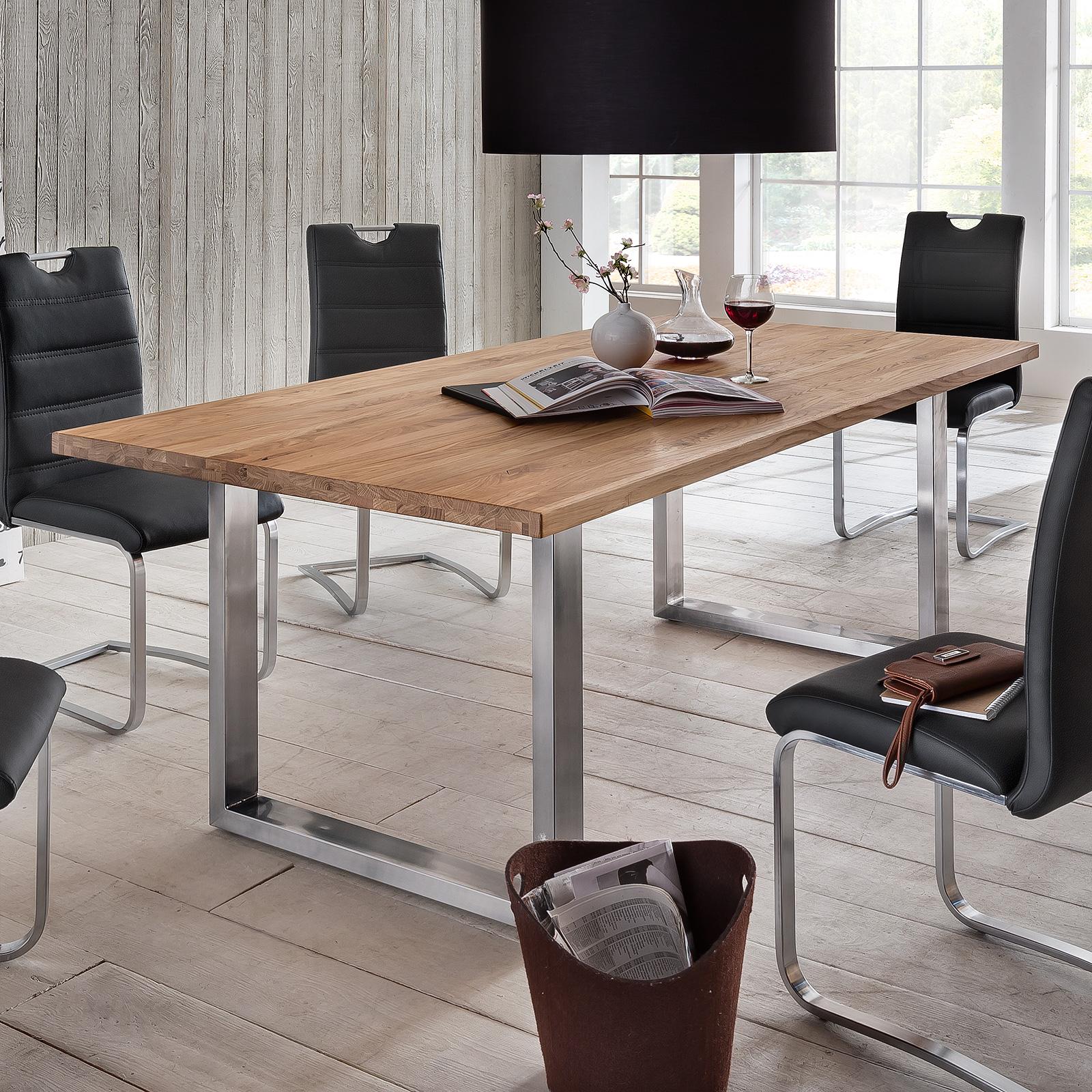 esstisch brooklyn esszimmertisch eiche massiv platte gr e und gestell w hlbar ebay. Black Bedroom Furniture Sets. Home Design Ideas