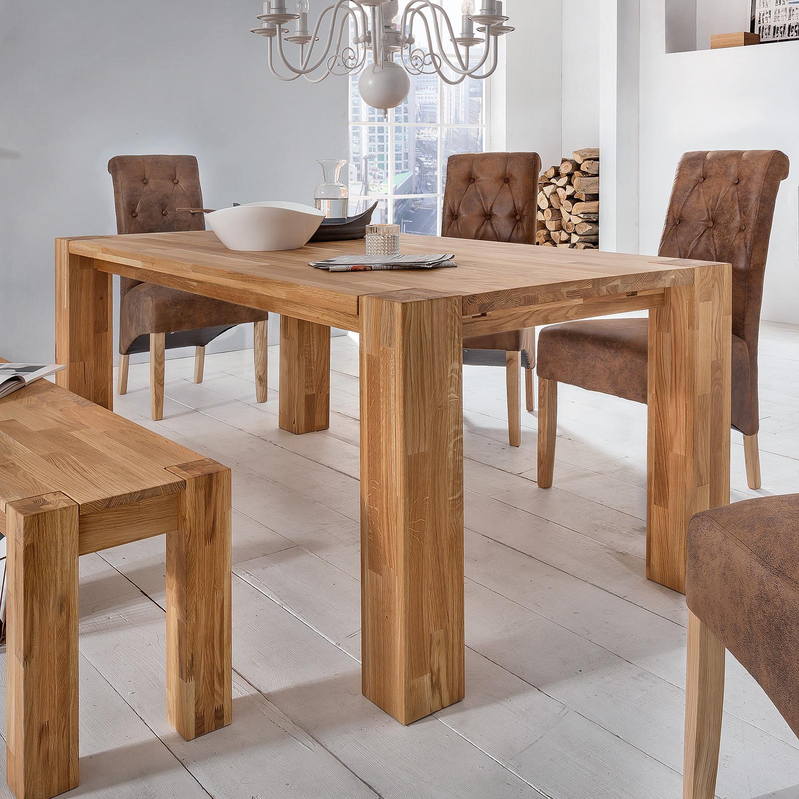 esstisch big oak esszimmertisch tisch in wildeiche massiv ge lt gr e w hlbar ebay. Black Bedroom Furniture Sets. Home Design Ideas