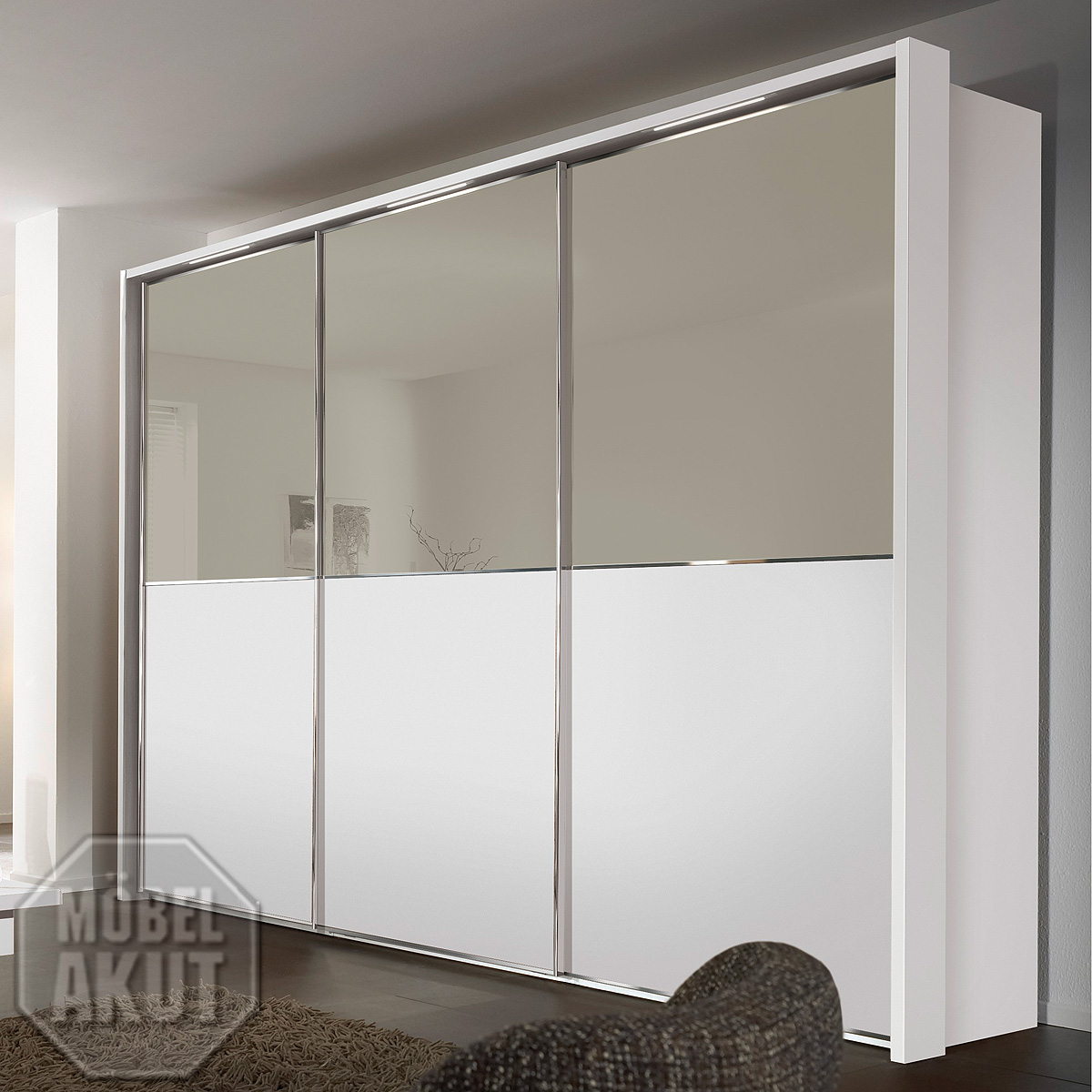 schwebet renschrank attraction von nolte kleiderschrank wei glas saharaglas ebay. Black Bedroom Furniture Sets. Home Design Ideas