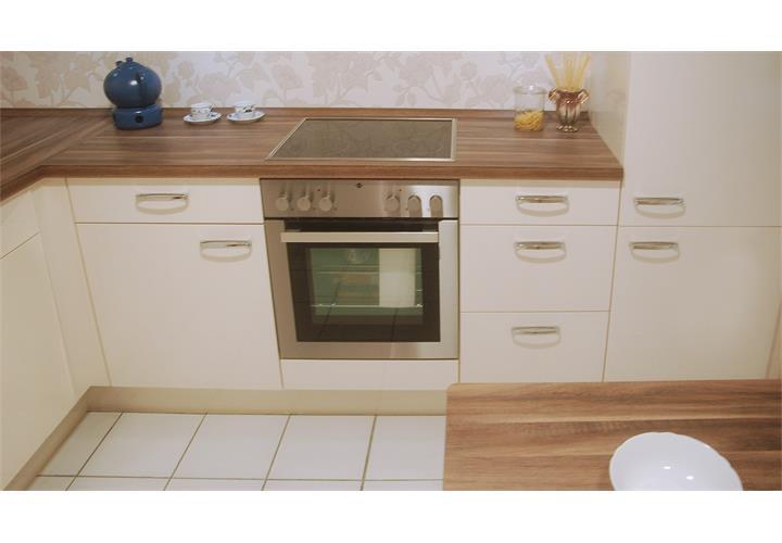 Einbauküche Nobilia Ausstellungsküche Küche L-Form magnolia ...