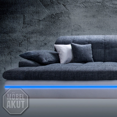 big sofa almond couch in wei und grau mit rgb led. Black Bedroom Furniture Sets. Home Design Ideas