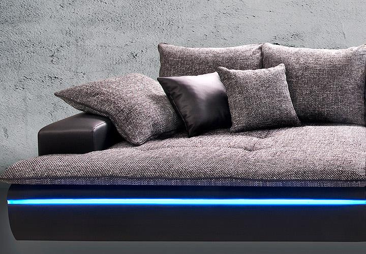 big sofa contempo megasofa loungesofa in schwarz silber inkl rgb led sofas sofas sessel. Black Bedroom Furniture Sets. Home Design Ideas