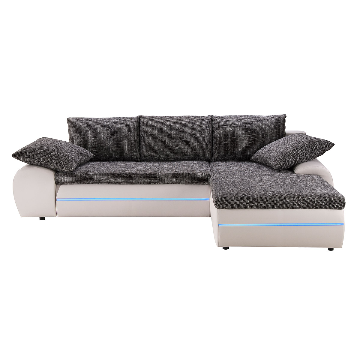 ecksofa dubai sofa wohnlandschaft wei schwarz silber inkl rgb led beleuchtung ebay. Black Bedroom Furniture Sets. Home Design Ideas