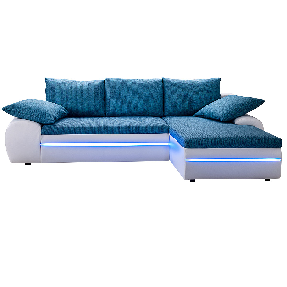 ecksofa dubai sofa wohnlandschaft wei und t rkis inkl rgb led beleuchtung ebay. Black Bedroom Furniture Sets. Home Design Ideas