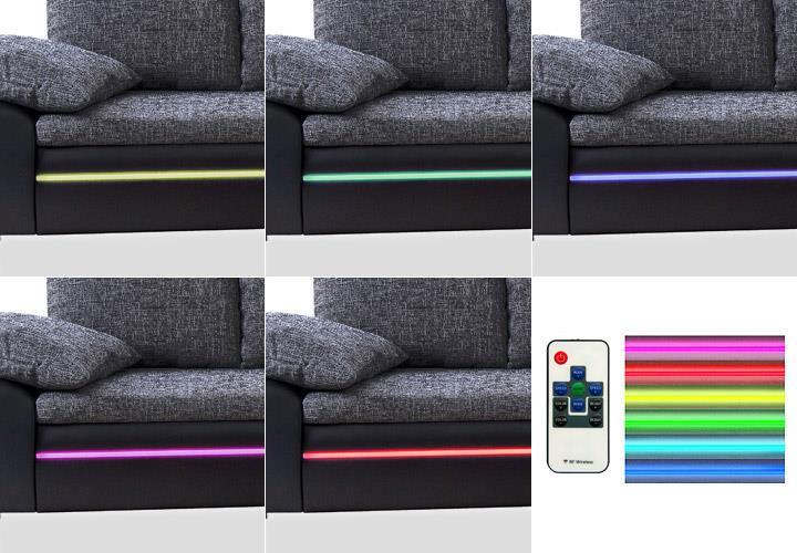 big sofa dubai megasofa wohnlandschaft schwarz und blau inkl rgb led ebay. Black Bedroom Furniture Sets. Home Design Ideas