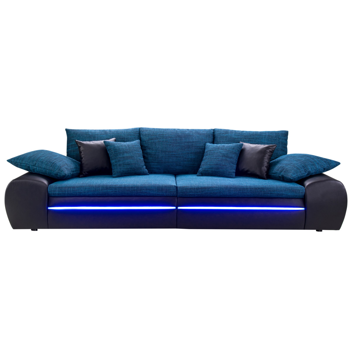 big sofa dubai megasofa wohnlandschaft schwarz und blau inkl rgb led ebay. Black Bedroom Furniture Sets. Home Design Ideas