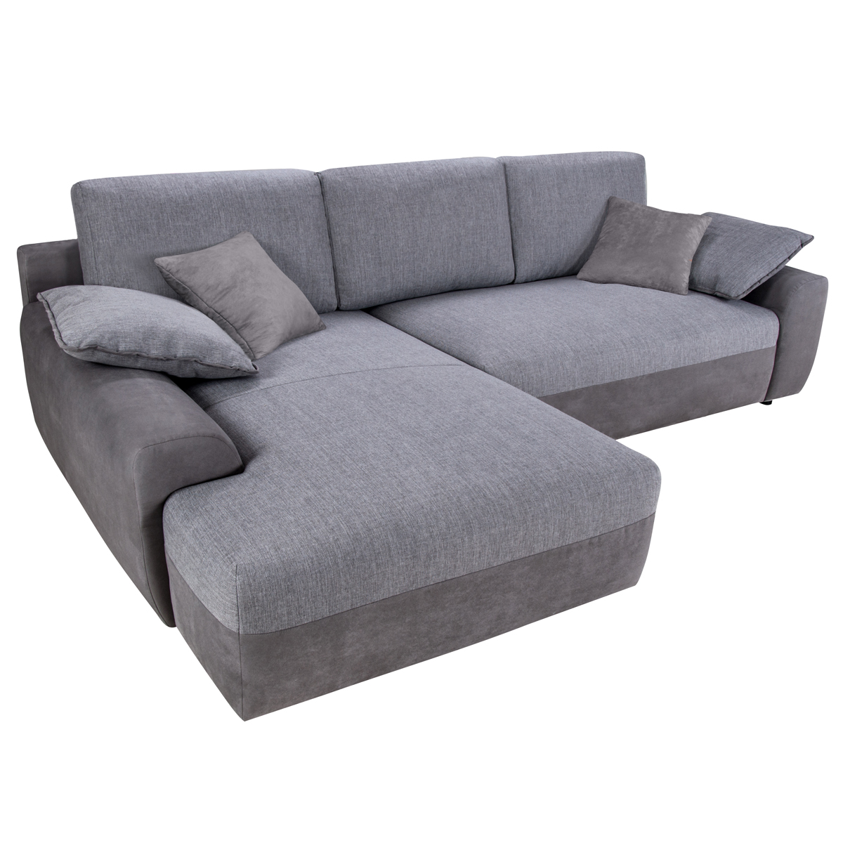 Wohnlandschaft hastings grau sofa ecksofa mit bettfunktion for Sofa mit bettfunktion