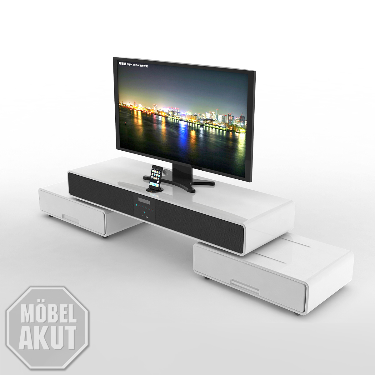 tv board future tv rack hifi board lowboard wei hochglanz lackiert neu ebay. Black Bedroom Furniture Sets. Home Design Ideas