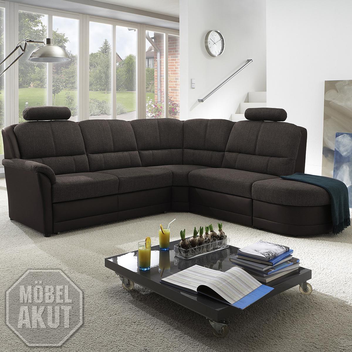 Wohnlandschaft mataro ecksofa eckgarnitur sofa nougat for Wohnlandschaft braun