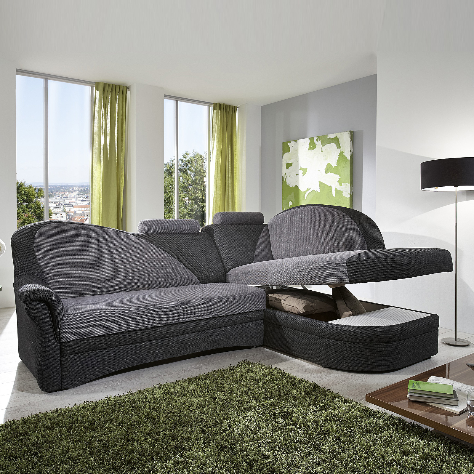 ecksofa helsinki wohnlandschaft sofa mit funktion anthrazit alu hellgrau ebay. Black Bedroom Furniture Sets. Home Design Ideas