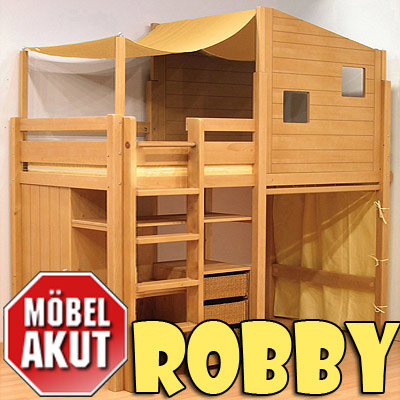 kinderzimmer robby hochbett bett teil massiv neu. Black Bedroom Furniture Sets. Home Design Ideas
