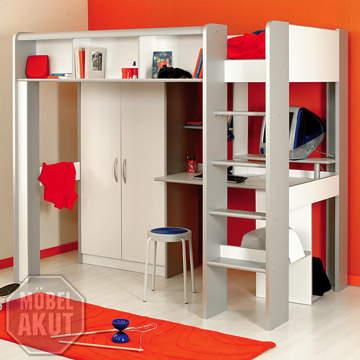 hochbett speedy kinderbett bett in alu wei neu ebay. Black Bedroom Furniture Sets. Home Design Ideas