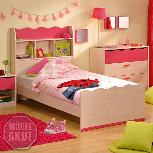 kinderbett pinky bett mit regal in kiefer pink ebay. Black Bedroom Furniture Sets. Home Design Ideas