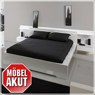 bettanlage skyline bett wei lackiert 160 x 200 cm ebay. Black Bedroom Furniture Sets. Home Design Ideas