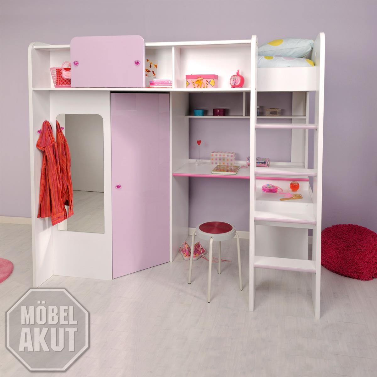 hochbett madame etagenbett wei lila hochglanz ebay. Black Bedroom Furniture Sets. Home Design Ideas