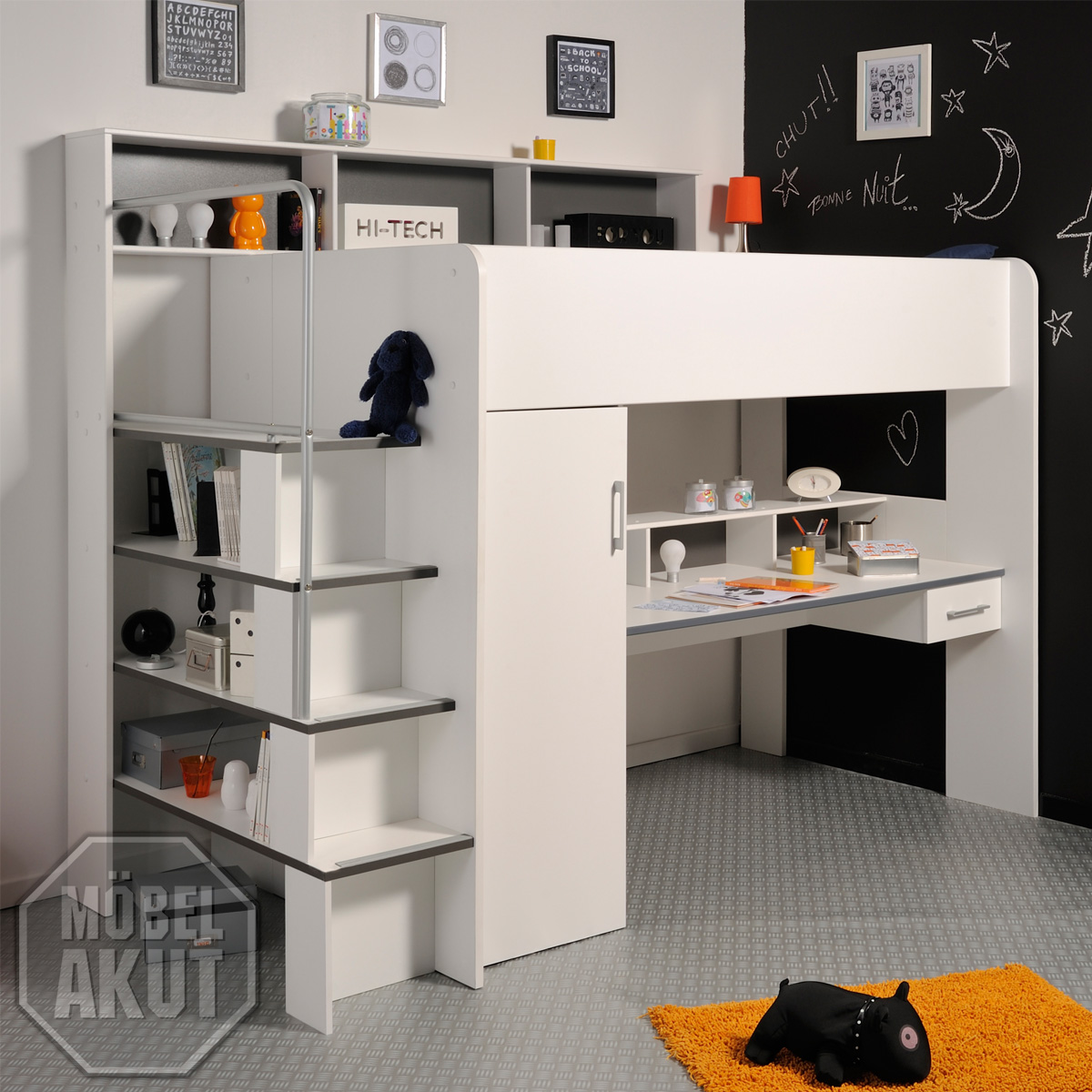 hochbett between etagenbett bett mit schreibtisch und schrank in wei grau ebay. Black Bedroom Furniture Sets. Home Design Ideas