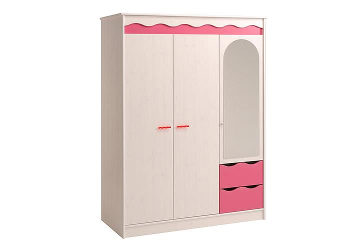 kleiderschrank lilou schrank in kiefer wei und pink f r kinderzimmer 136 cm ebay. Black Bedroom Furniture Sets. Home Design Ideas