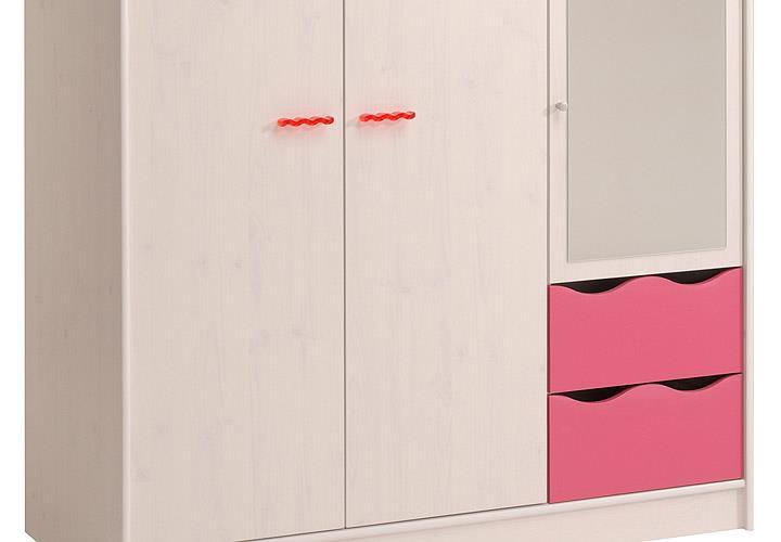 kleiderschrank lilou schrank in kiefer weiß und pink für ... - Kinderzimmer Weis Pink