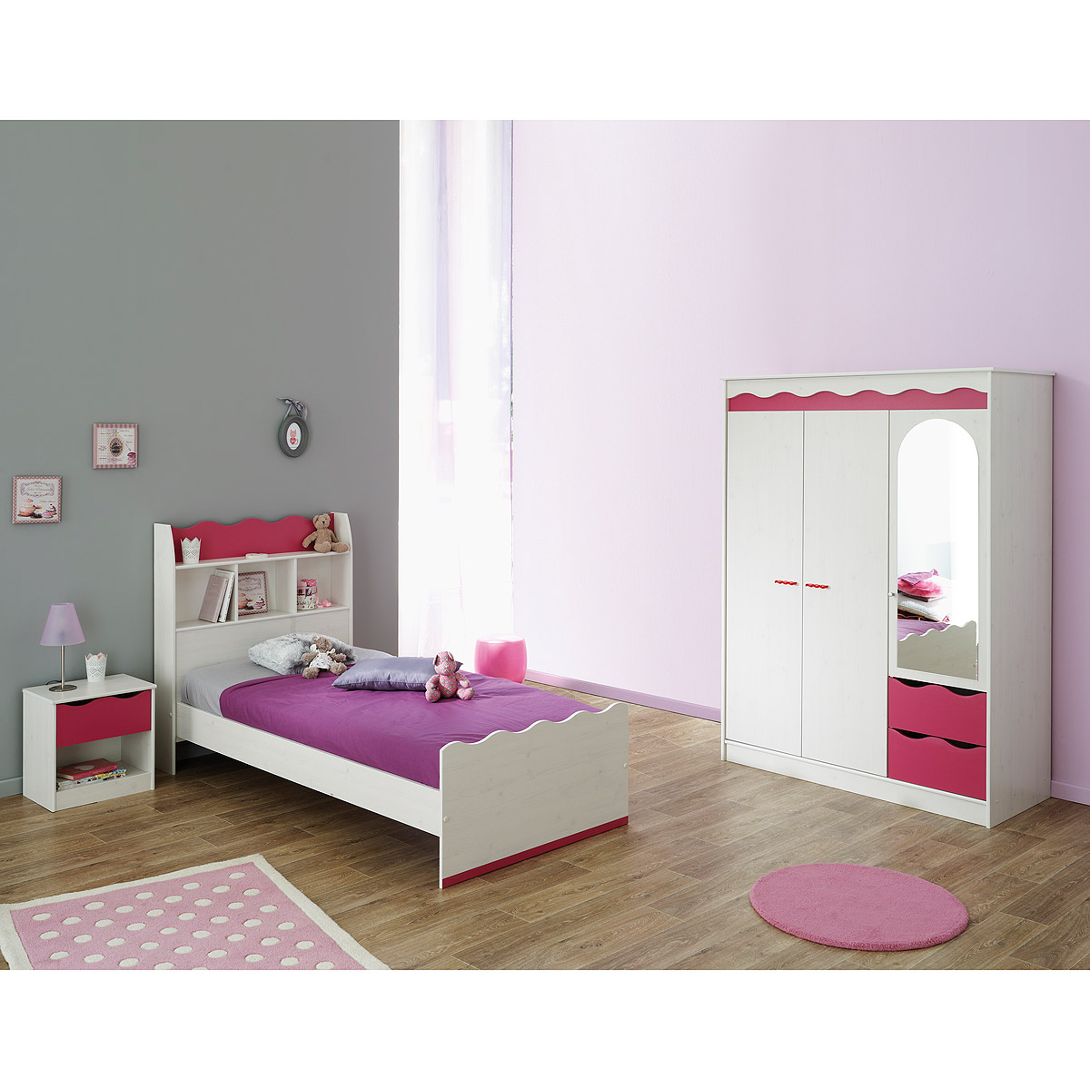 kinderzimmer lilou kinderzimmerset schrank bett nako in kiefer wei und pink ebay. Black Bedroom Furniture Sets. Home Design Ideas