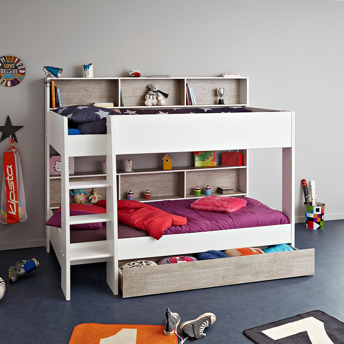 etagenbett taylor hochbett kinderbett in wei und grau loft mit leiter ebay. Black Bedroom Furniture Sets. Home Design Ideas
