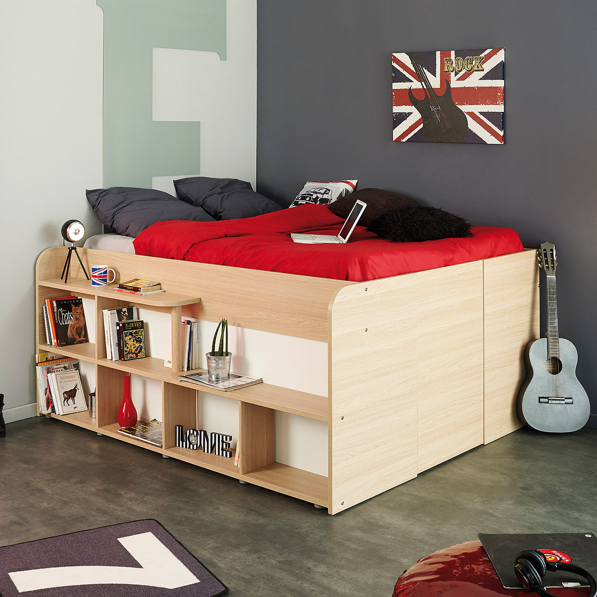 hochbett space up bett in baltimore eiche mit stauraum und hydraulik 140x200 ebay. Black Bedroom Furniture Sets. Home Design Ideas