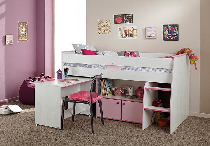 hochbett zoe etagenbett in kiefer wei und pink mit schreibtisch und leiter ebay. Black Bedroom Furniture Sets. Home Design Ideas