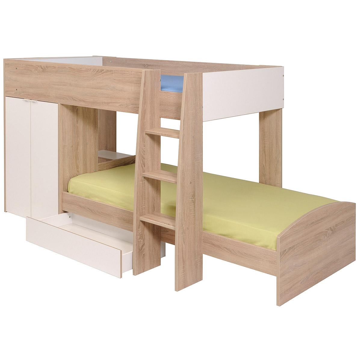 etagenbett stim hochbett kinderbett sonoma eiche wei mit kleiderschrank ebay. Black Bedroom Furniture Sets. Home Design Ideas