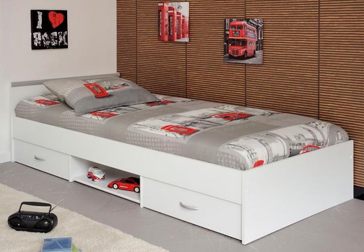 bett jugendbett einzelbett 90x200 cm in wei oder buche. Black Bedroom Furniture Sets. Home Design Ideas