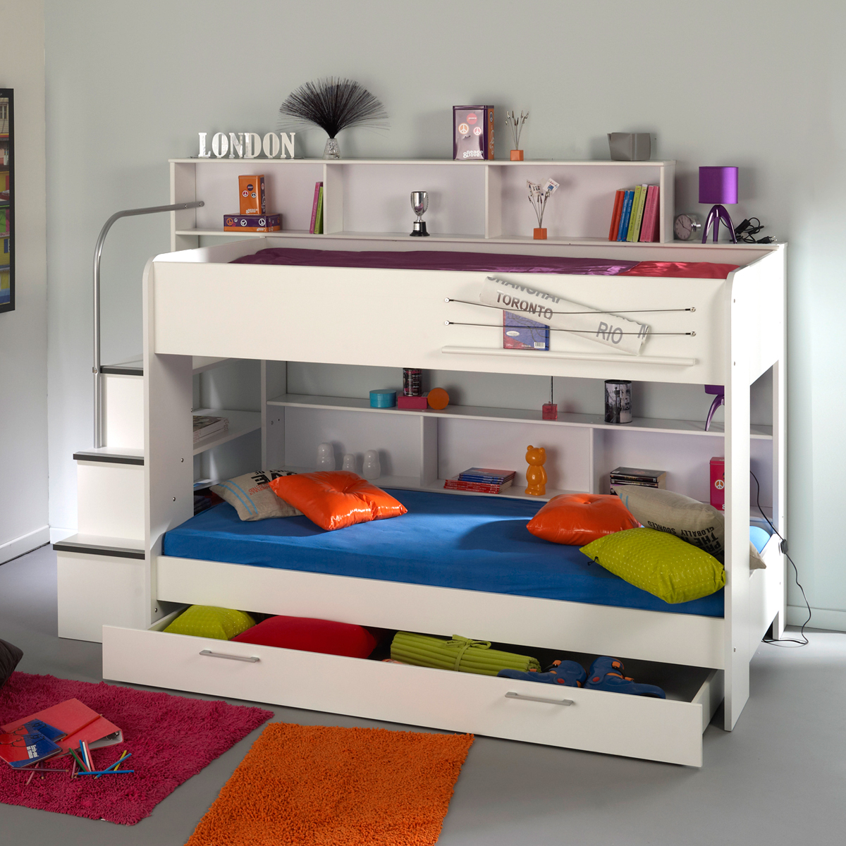etagenbett bibop hochbett buche oder wei dekor mit treppe b cherregal stauraum ebay. Black Bedroom Furniture Sets. Home Design Ideas
