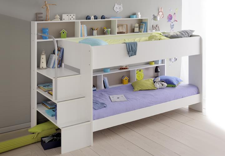 etagenbett bibop hochbett in wei dekor mit treppe b cherregalen stauraum ebay. Black Bedroom Furniture Sets. Home Design Ideas