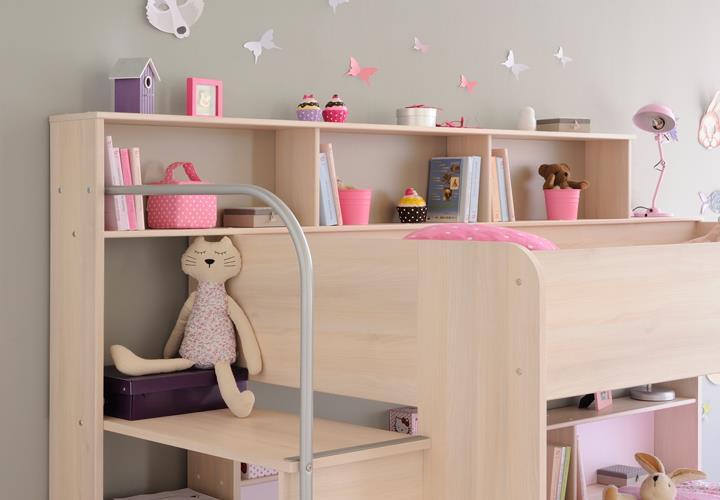 etagenbett bibop hochbett in akazie dekor mit treppe b cherregalen stauraum ebay. Black Bedroom Furniture Sets. Home Design Ideas