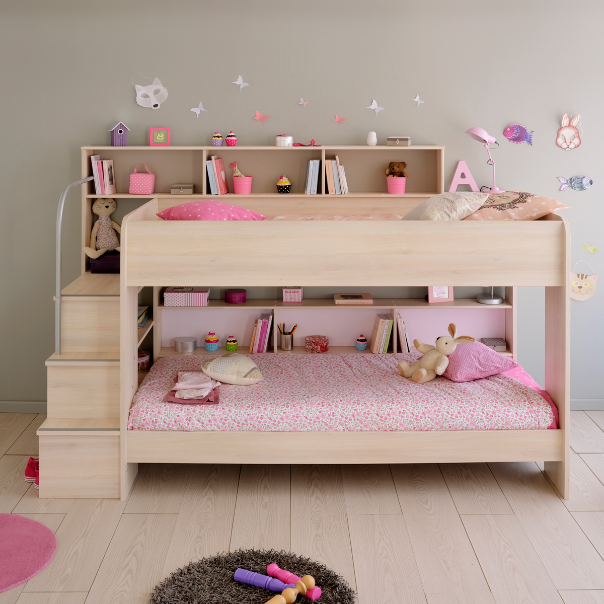 etagenbett bibop hochbett in akazie dekor mit treppe b cherregalen stauraum ebay. Black Bedroom Furniture Sets. Home Design Ideas