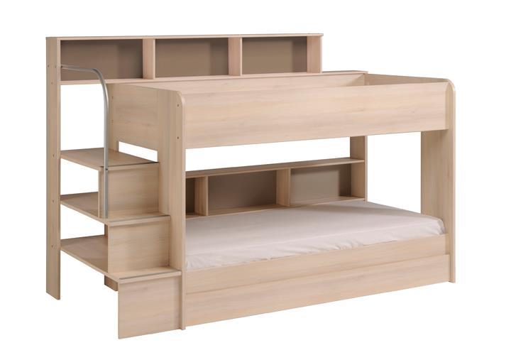 Etagenbett bibop hochbett akazie mit treppe b cherregalen - Doppelstockbett mit treppe ...