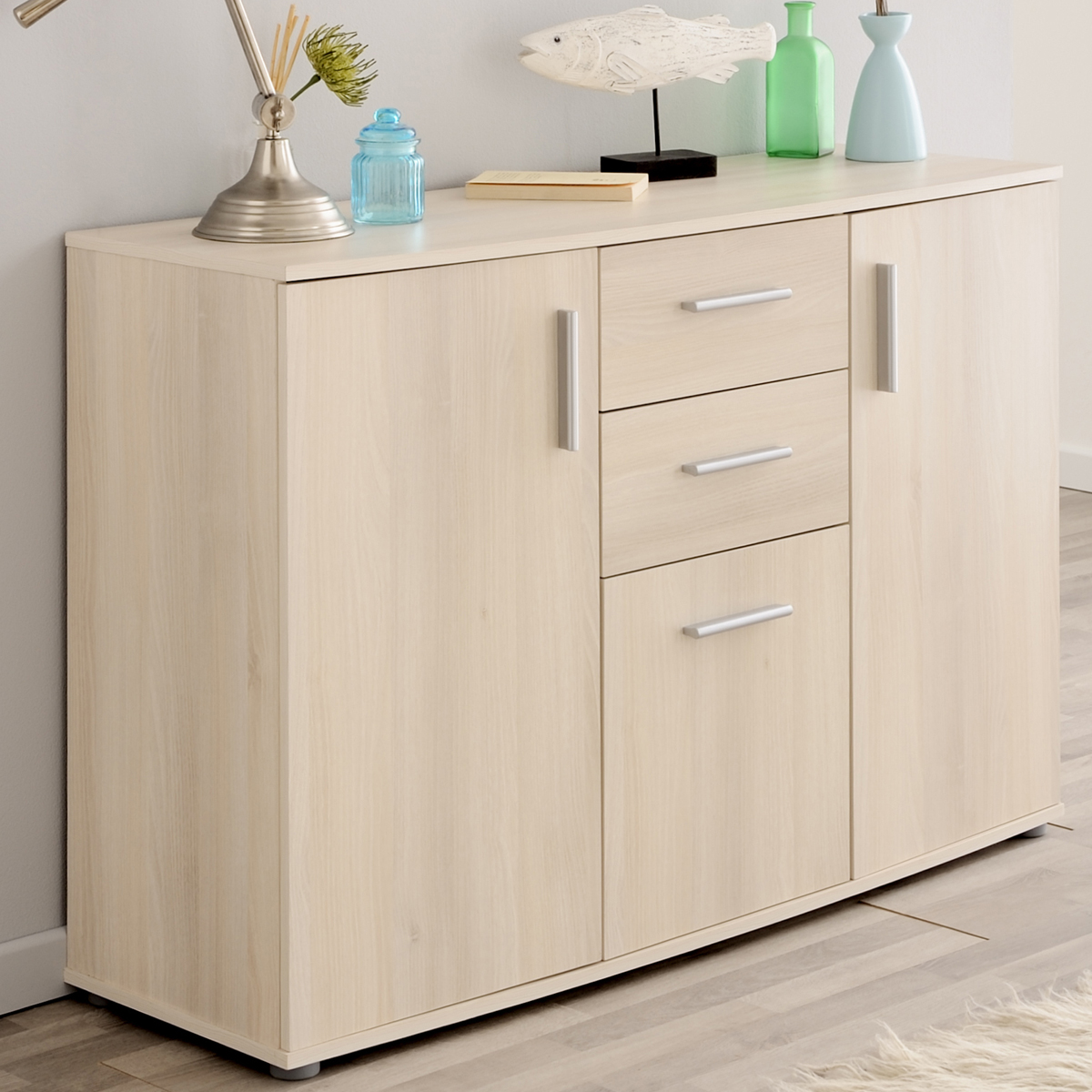 sideboard salto 1 esszimmer anrichte wohnzimmer kommode akazie 3 t ren ebay. Black Bedroom Furniture Sets. Home Design Ideas