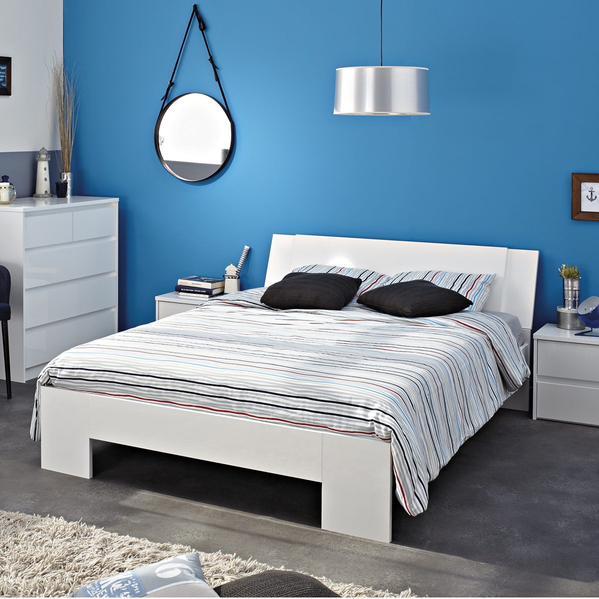 bett ontario 5 wei hochglanz 140x200 jugendbett. Black Bedroom Furniture Sets. Home Design Ideas